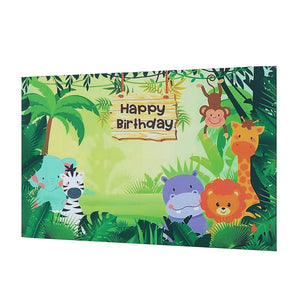 Fun Jungle animals Photography backdrops Happy Birthday Photo Background Party Decoration