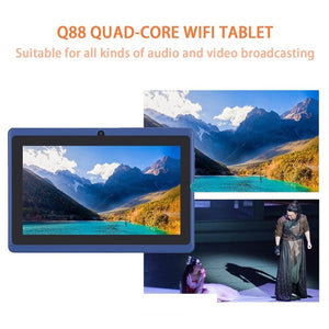 Refurbished Q88 quad-core wifi tablet seven-inch USB power supply 512M+4G red