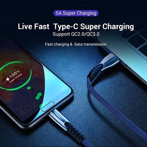 5A USB Type C Fast Charging Cable For Huawei Samsung S8 S9 S10 Alloy Braided Micro USB Charger Cord Data Sync Cable For Android/Type-C Phone