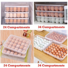Load image into Gallery viewer, 24/34 Compartment Plastic Single-Layer Egg Preservation Tray Fresh Box with Lid Eggs Holder Egg Storage Container