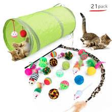 Load image into Gallery viewer, 21Pcs/Set Cat Teaser Channel Ball Plush Toys Set for Pet