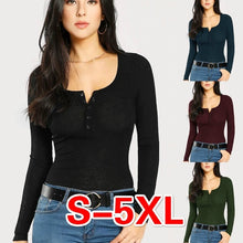 Load image into Gallery viewer, 4 Color Spring Autumn New Women Fashion Long Sleeve Low-cut Solid Color Slim Fit T-shirts Plus Size Ladies Cotton Tops Casual Women Pullovers S-5XL