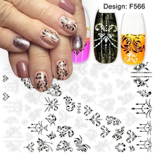 Load image into Gallery viewer, 1pcs Stickers for Nails Designs White Black Flower Leaf Linear Manicure Sliders 3D Nail Art Decorations sticker Decal