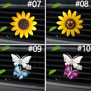 1 Pcs Car Perfume Decoration Fragrance Natural Smell Air Freshener Auto Accessories Butterfly Camellia Sunflower Air Conditioner Outlet Clip