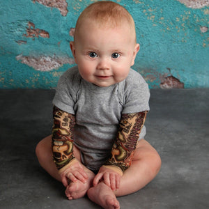 Wonderful Newborn BabyBoy Tattoo Printed Long Sleeve Patchwork Romper Autumn Bodysuit