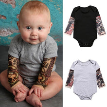 Load image into Gallery viewer, Wonderful Newborn BabyBoy Tattoo Printed Long Sleeve Patchwork Romper Autumn Bodysuit