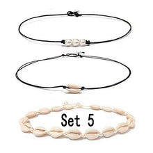 Load image into Gallery viewer, Shell Choker Necklace Set Mixed Shell Necklace Hawaii Beach Cowrie Seashell Necklace Pearl Choker Necklace Jewelry For Women