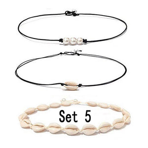 Shell Choker Necklace Set Mixed Shell Necklace Hawaii Beach Cowrie Seashell Necklace Pearl Choker Necklace Jewelry For Women