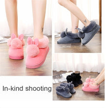 Load image into Gallery viewer, Winter Cute Rabbit Hair Indoor Warm Non-slip Cotton Slippers Winter Women Shoes
