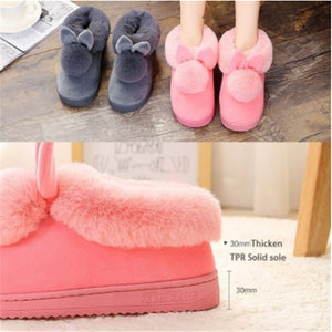 Winter Cute Rabbit Hair Indoor Warm Non-slip Cotton Slippers Winter Women Shoes