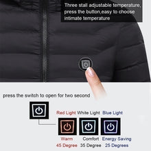 Load image into Gallery viewer, New Upgrade Mens Winter Heated USB Hooded Work Jacket Coats Adjustable Temperature Control Safety Clothing (Three Stall Ajustable Temperature Control)