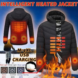 New Upgrade Mens Winter Heated USB Hooded Work Jacket Coats Adjustable Temperature Control Safety Clothing (Three Stall Ajustable Temperature Control)