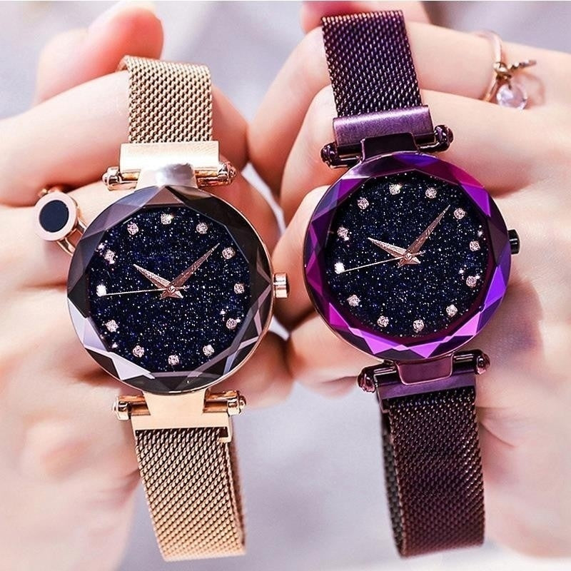 Luxury Starry Sky Women Watches Rose Gold Bracelet Rhinestones Quartz Ladies Watch Thin Female Waistwatch Christmas Gift