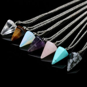1 Pcs Natural  Necklace Healing Chakra Quartz Crystal  Gemstone Pendant Chain Reiki