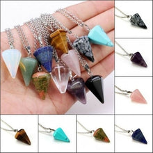 Load image into Gallery viewer, 1 Pcs Natural  Necklace Healing Chakra Quartz Crystal  Gemstone Pendant Chain Reiki