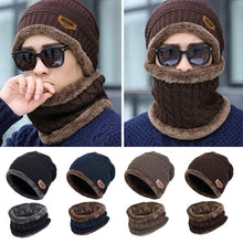 Load image into Gallery viewer, Winter Women Men Fashion Solid Fur Wool Lining Thick Warm Knit Winter Hat Cap Scarf Bonnet Scarf