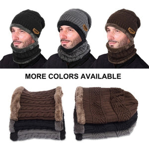 Winter Women Men Fashion Solid Fur Wool Lining Thick Warm Knit Winter Hat Cap Scarf Bonnet Scarf