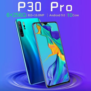 NEW Upgrade P30 Pro 6.3 Inch Screen Android Phone 6GB+256GB Bluetooth Wifi 8MP+16 MP Dual Camera Mobile Phone 10 Core 4G Smart Phone