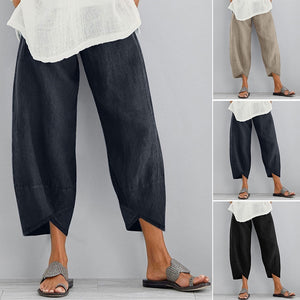 ZANZEA Fashion Women Long Pants Casual Loose Pure Color Wide Legs Harem Pants Plain Trousers Plus Size