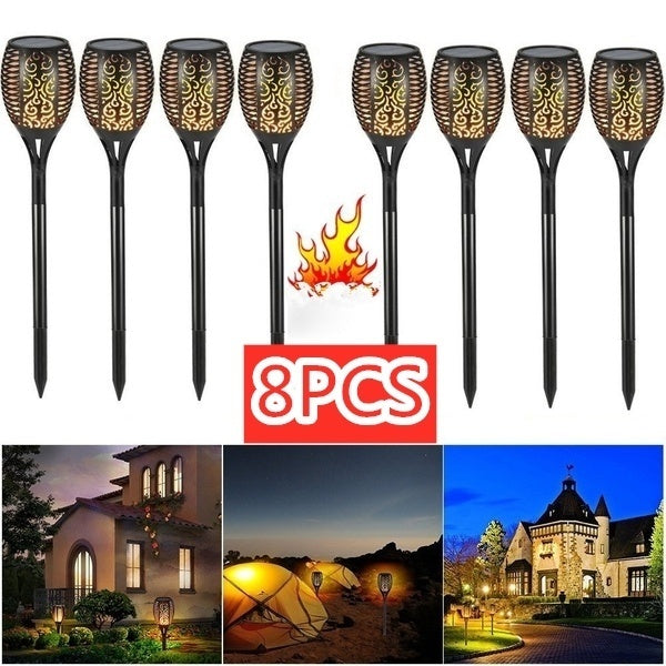 4/8pcs IP65 Waterproof Solar Path Torches Lights Dancing Flame Torches Lights Outdoor Landscape Decoration for Patio Garden Path Yard Wedding Party