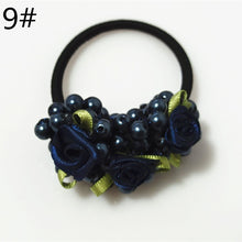 Load image into Gallery viewer, 10 colors exquisite girls flowers pearl high elastic rubber band hair ring jewelry