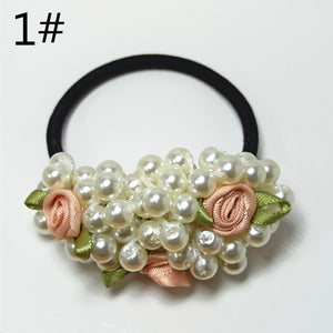 10 colors exquisite girls flowers pearl high elastic rubber band hair ring jewelry