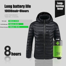 Load image into Gallery viewer, 2019New Upgrade Mens Winter Heated USB Hooded Work Jacket Coats Adjustable Temperature Control Safety Clothing (Three Stall Ajustable Temperature Control)