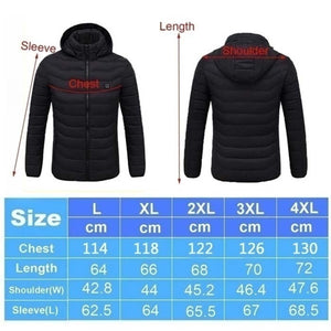 2019New Upgrade Mens Winter Heated USB Hooded Work Jacket Coats Adjustable Temperature Control Safety Clothing (Three Stall Ajustable Temperature Control)
