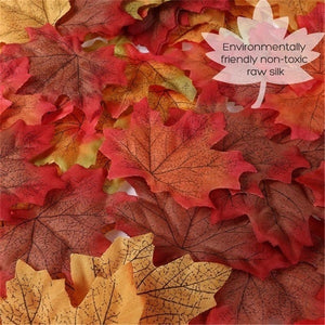 100/200/300/500pcs Artificial Maple Leaves Decorative Silk Maple Leaves Fake Fall Leaves for Festival Wedding Party Decor