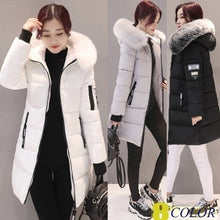 Load image into Gallery viewer, 2019 The Newest Women Fashion Winter Long Fur Hooded Down Cotton Cotton-padded Jacket Warm Puffer Coats Jackets Warm Parkas
