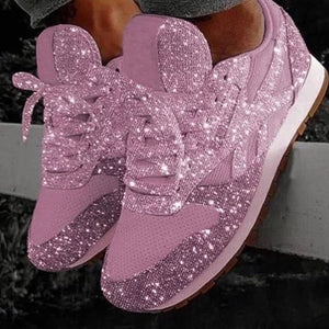 Walking Shoes Womens Sneakers Rhinestone Shoes Crystal Sneakers Platform Sneakers No-slip Running Shoes Plus Size