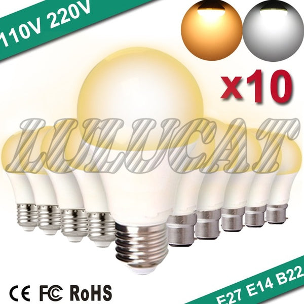 10Pc/lot E27/B22/E14 LED Bulbs AC 100V- 240V Led Lamp Home Constant Current Voltage Interior Lamp SMD2835 Cool White/Warm White