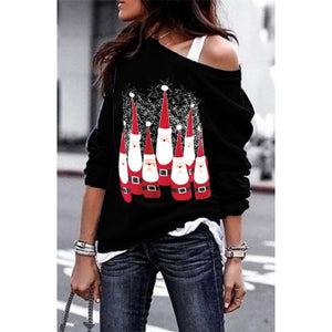 Women's Fashion Skew Neck Off Shoulder Santa Claus Snowflake Pullover Christmas Sweatshirt Tunic Tops