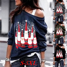 Load image into Gallery viewer, Women's Fashion Skew Neck Off Shoulder Santa Claus Snowflake Pullover Christmas Sweatshirt Tunic Tops