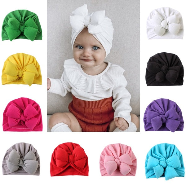 0-36 months spring summer baby girl hat big bow soft cotton wool knitted baby hat kid girl new born hat hat