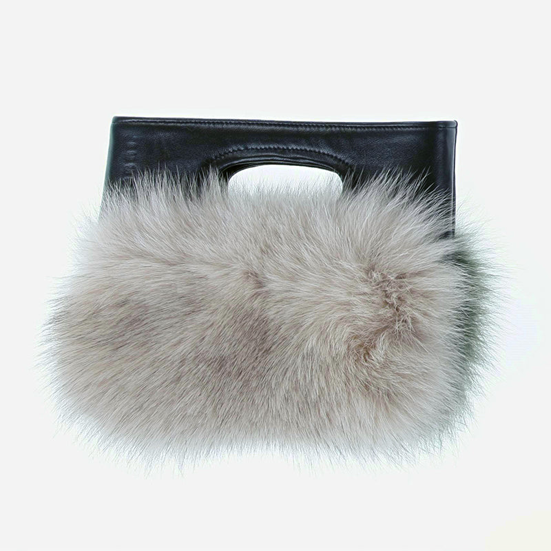 FUR BAG WITH LEATHER HANDLE