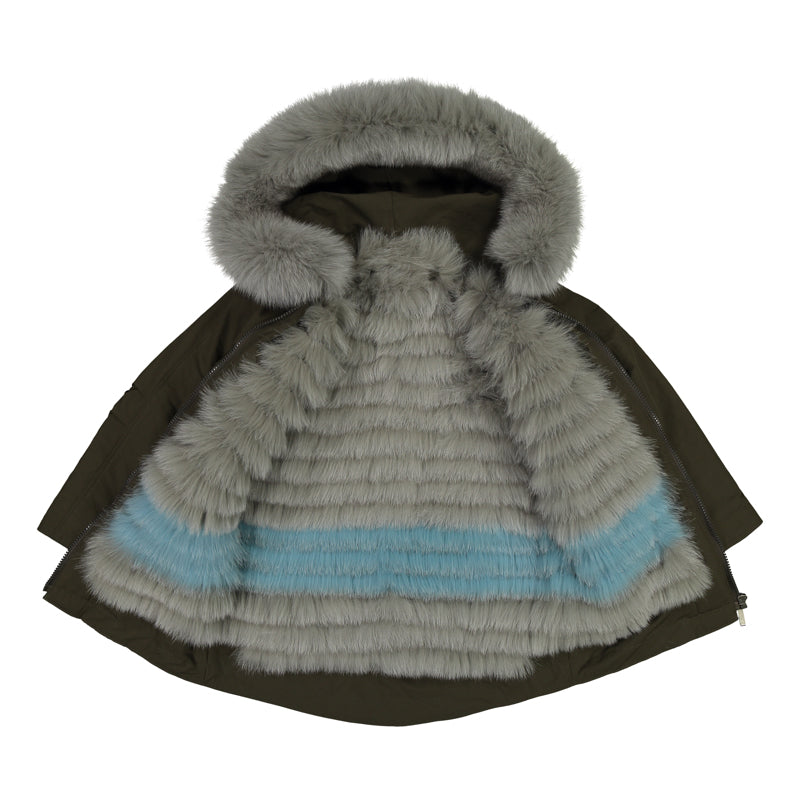 KID'S PARKA WITH FUR LINING AND HOOD