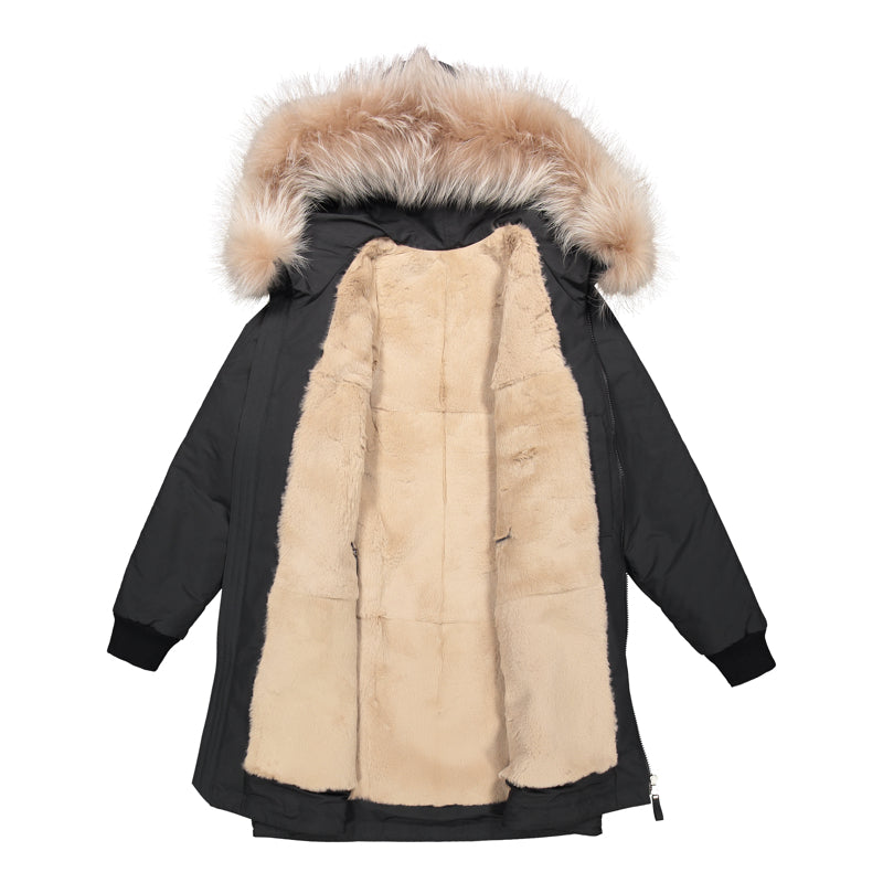 WOMEN'S PARKA WITH FUR LINING AND HOOD