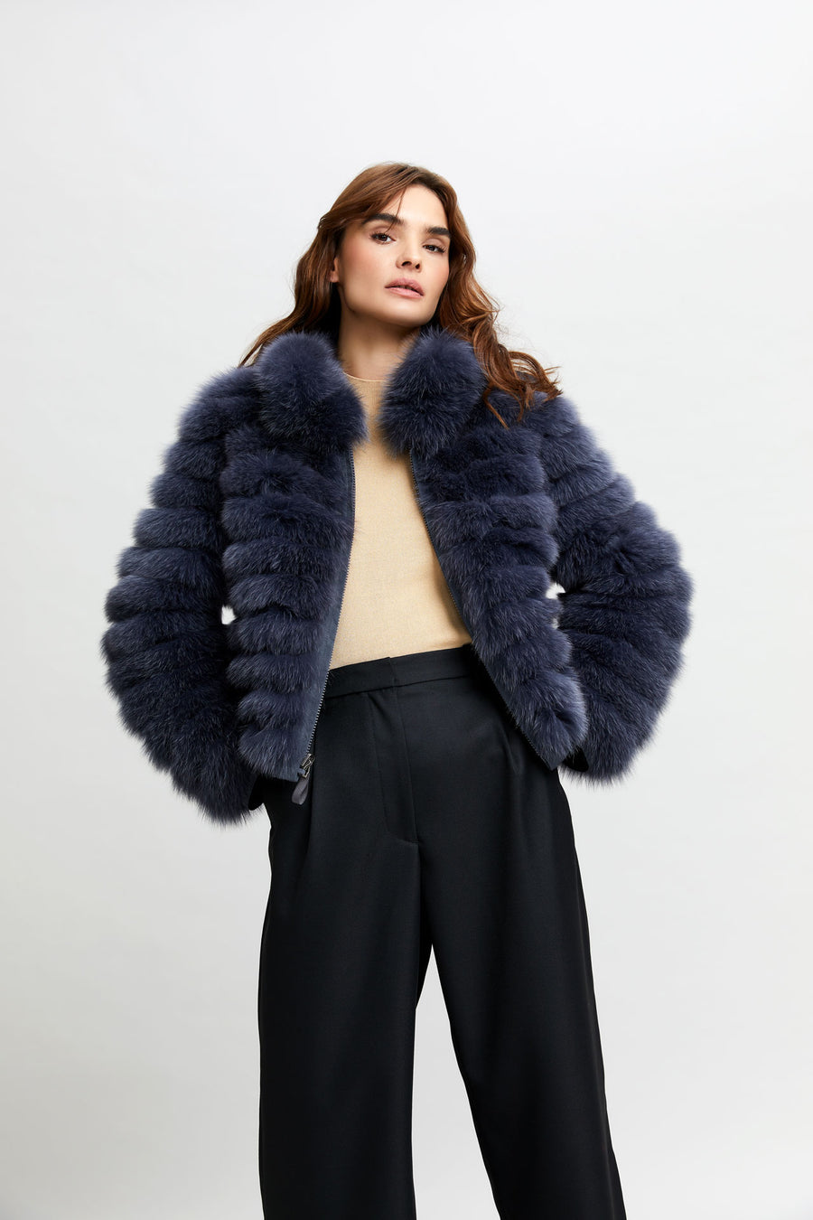 CROPPED REVERSIBLE FUR JACKET WITH COLLAR