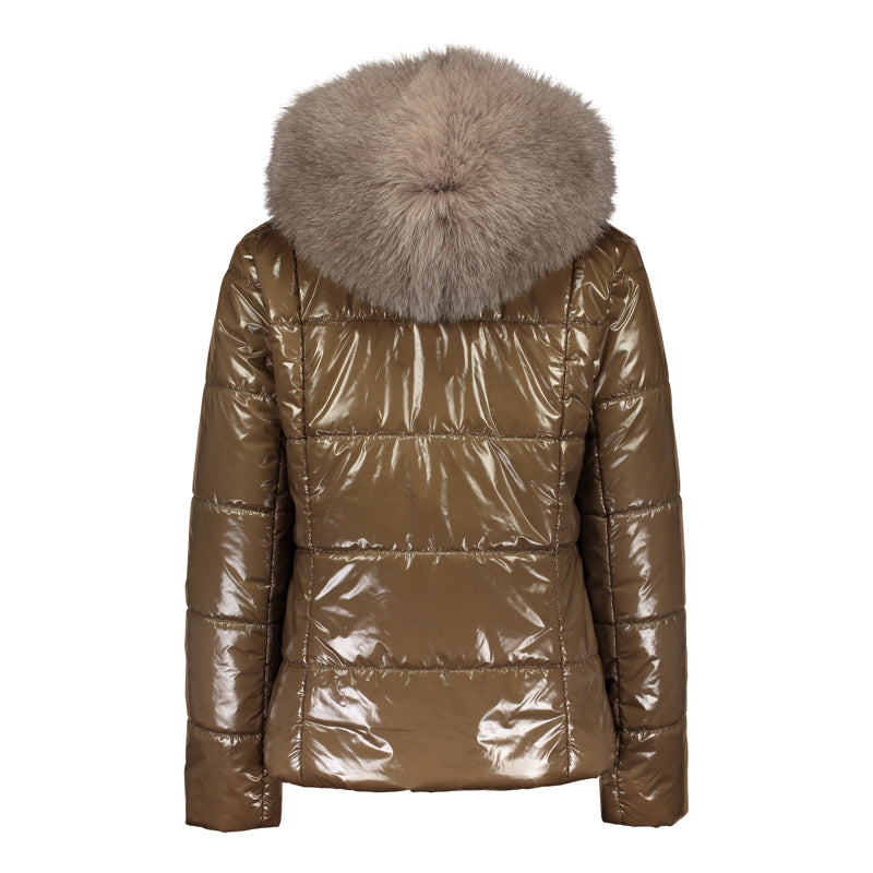 PUFFER JACKET WITH FUR HOOD