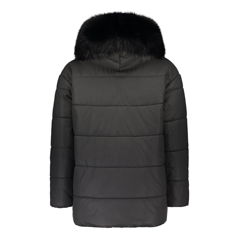 ASYMMETRIC PUFFER COAT WITH HOOD