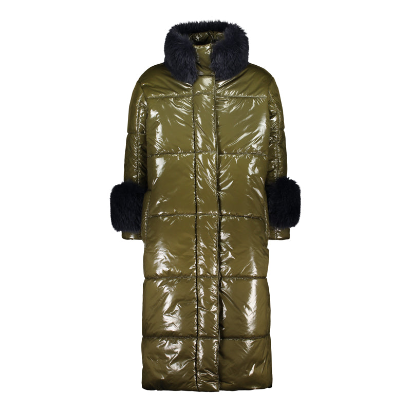 LONG PUFFER COAT WITH FUR COLLAR AND CUFFS