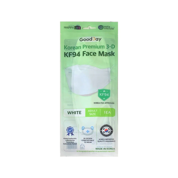 Promo code 'Happylife25'[Happy Life]Good Day KF94 Premium Face Mask(White-Adult Size)
