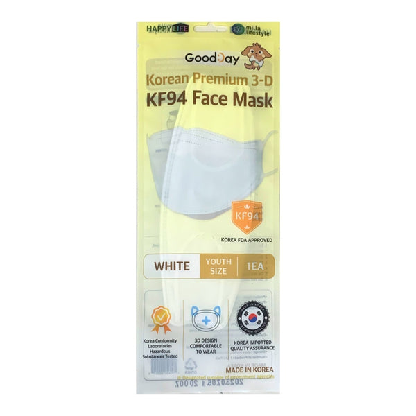 Promo code 'Happylife25'[Happy Life]Good Day KF94 Premium Face Mask Youth(White)