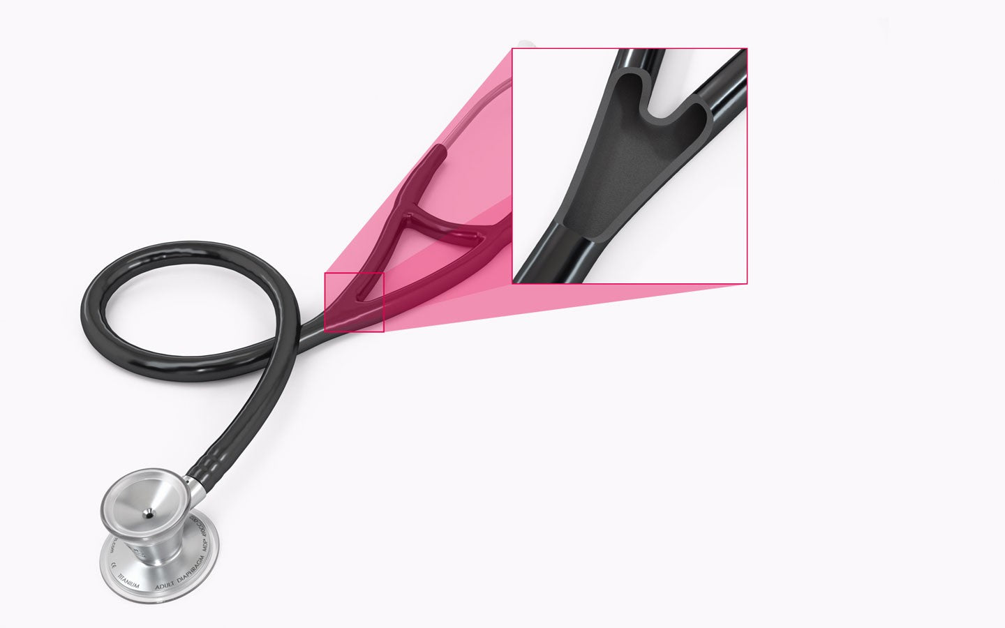 Lightweight Titanium Cardiology Stethoscope Desktop Denser, Longer Tubing. Better Sound.