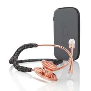 MDF® MD One® Stainless Steel Dual Head Stethoscope (MDF777) - Case + Rose Gold and Black Glitter