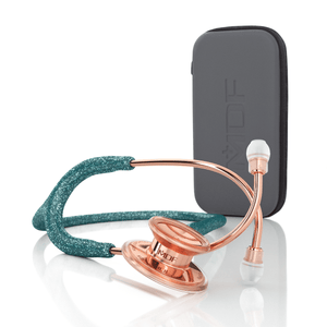 MDF® MD One® Stainless Steel Dual Head Stethoscope (MDF777) - Case + Rose Gold and Green Glitter