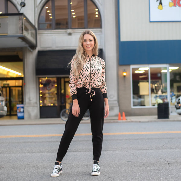 Fair Trade Leopard Bomber and Cut-to-order joggers