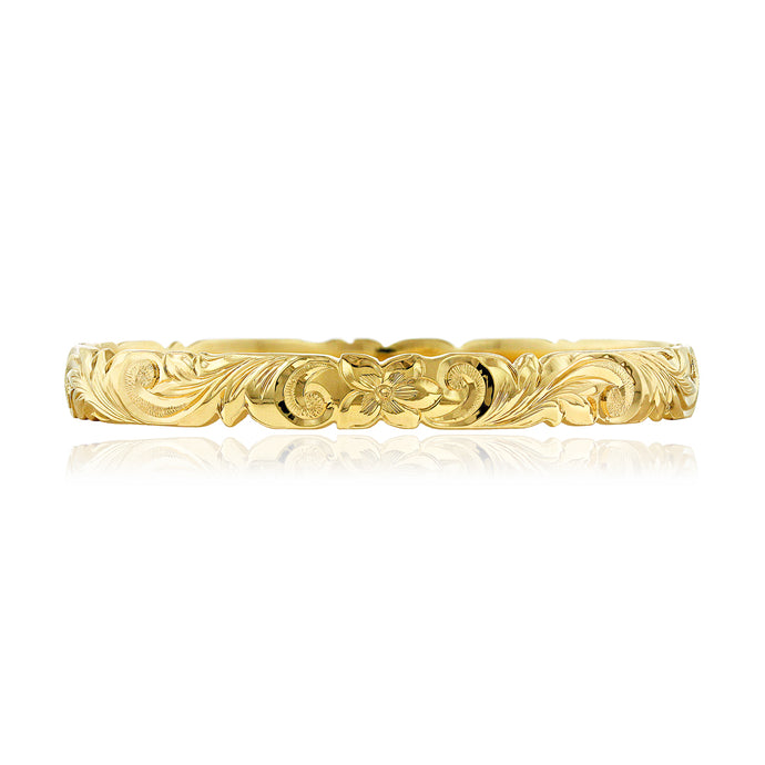 Scalloped Old English 8mm Bangle - Philip Rickard