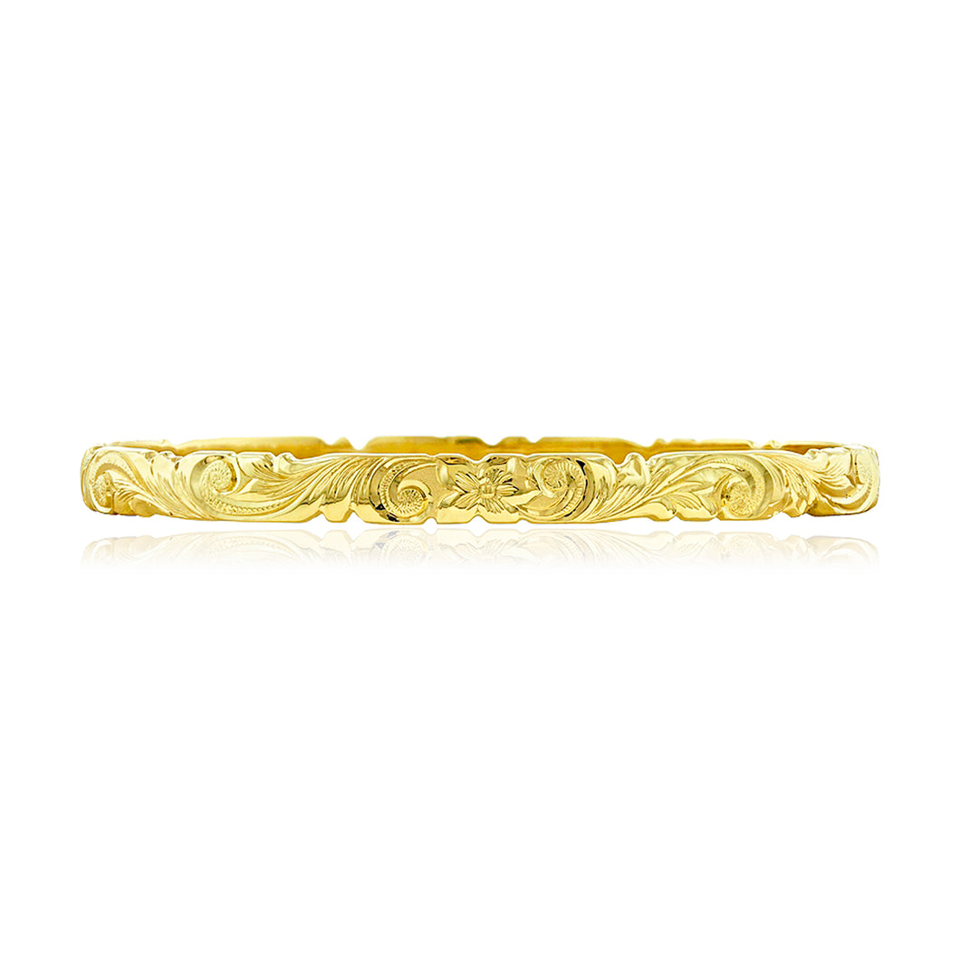 Scalloped Old English 6mm Bangle - Philip Rickard
